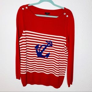 Talbots Nautical Anchor Sweater size xlarge